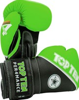 "Guantoni Boxe TOP TEN ""4 Select"" in Vera Pelle Verde 10/12/14/16 oz"